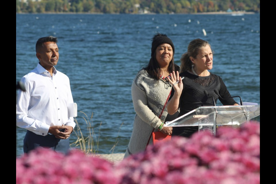 Federal Liberal candidate Chrystia Freeland speaks at a news conference Wednesday, Oct. 9, 2019 in Barrie where a $40-million plan for Lake Simcoe was announced along the shores of Kempenfelt Bay. With Freeland are local candidates Brian Kalliecharan (Barrie-Springwater-Oro-Medonte) and Lisa-Marie Wilson (Barrie-Innisfil). Raymond Bowe/BarrieToday