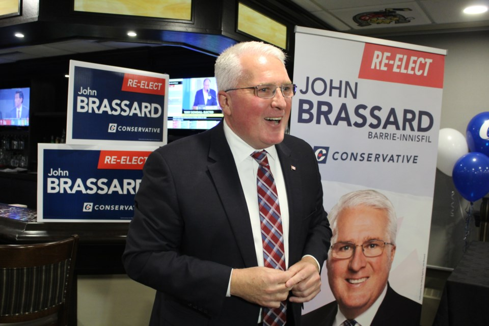 Conservative candidate John Brassard speaks to supporters on Monday night at the BMC after winning the Barrie-Innisfil riding again in the federal election. Raymond Bowe/BarrieToday