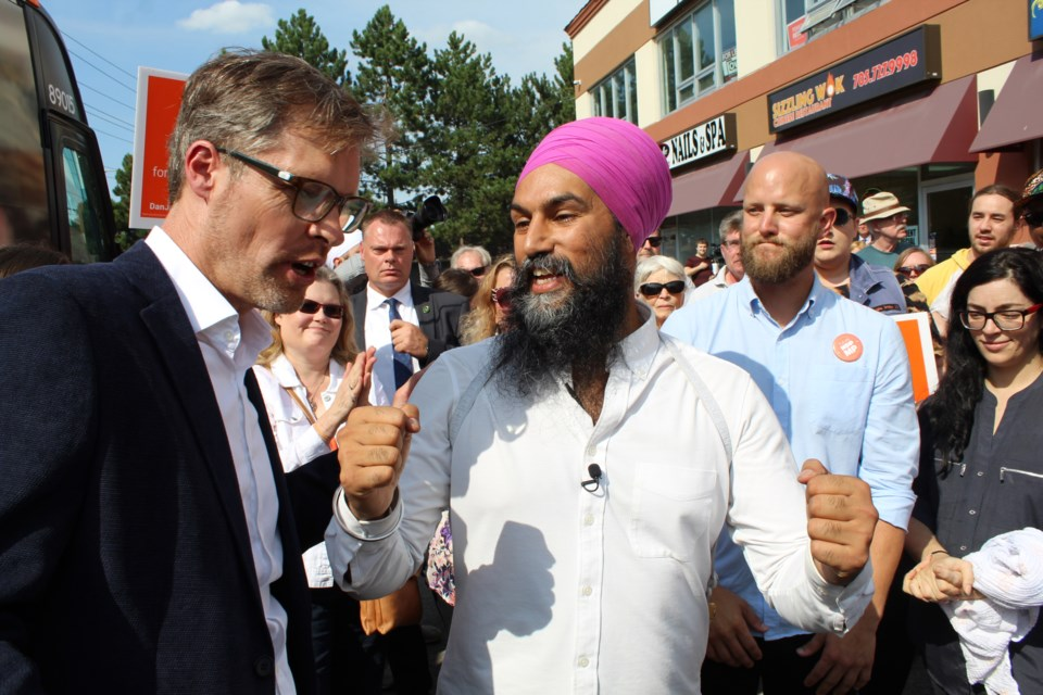 Federal NDP leader Jagmeet Singh stopped in Barrie on Sept. 18, 2019 to show support for local candidates, including Pekka Reinio (left) and Dan Janssen. Raymond Bowe/BarrieToday