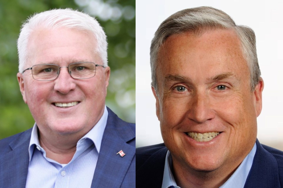 Barrie-Innisfil MP John Brassard (left) and Barrie-Springwater-Oro Medonte MP Doug Shipley were both re-elected on Monday night.