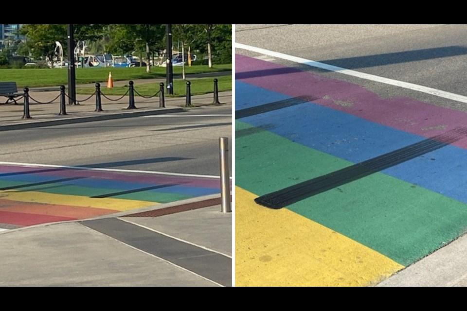 Skid marks damaged the Pride crosswalk in downtown Barrie late last week.