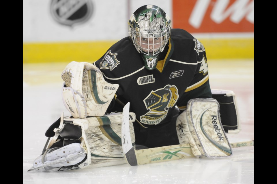 Barrie native Michael Hutchinson is shown in a file photo from the 2009-10 OHL season with the London Knights. Aaron Bell/OHL Images