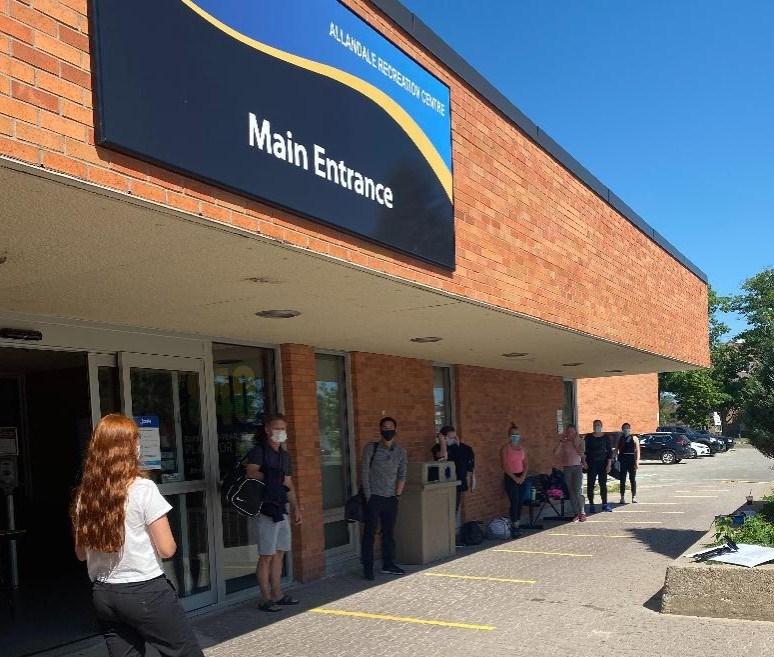 Mariposa lineup outside Allandale Recreation Centre