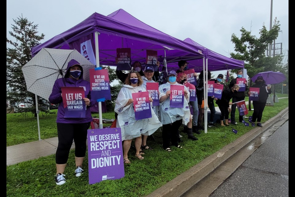 Despite the rain, front-line workers protested outside Royal Victoria Regional Health Centre in Barrie on Thursday. They were voicing their concerns over Bill 124 and what they say has been a lack of compensation.