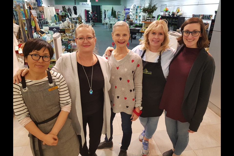 From left, Sunny Jung (Everleigh Garden), Judy Rickard (Janet Kemp), Tracey Baker (ZuZu), Kim Harrison (Barrie Olive Oil Co.) and Carly Saunders (Our House) all share space at the Shops of Downtown at Georgian Mall, Wednesday. Shawn Gibson/BarrieToday