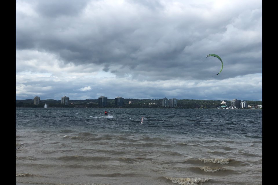 Watersport enthusiasts were taking advantage of the windy and somewhat balmy September day, Sunday, on Kempenfelt Bay in Barrie. Kitesurfers, windsurfers and sailors joined the regular ranks of paddleboarders and recreational boaters off Minet's Point. Marg. Bruineman/BarrieToday