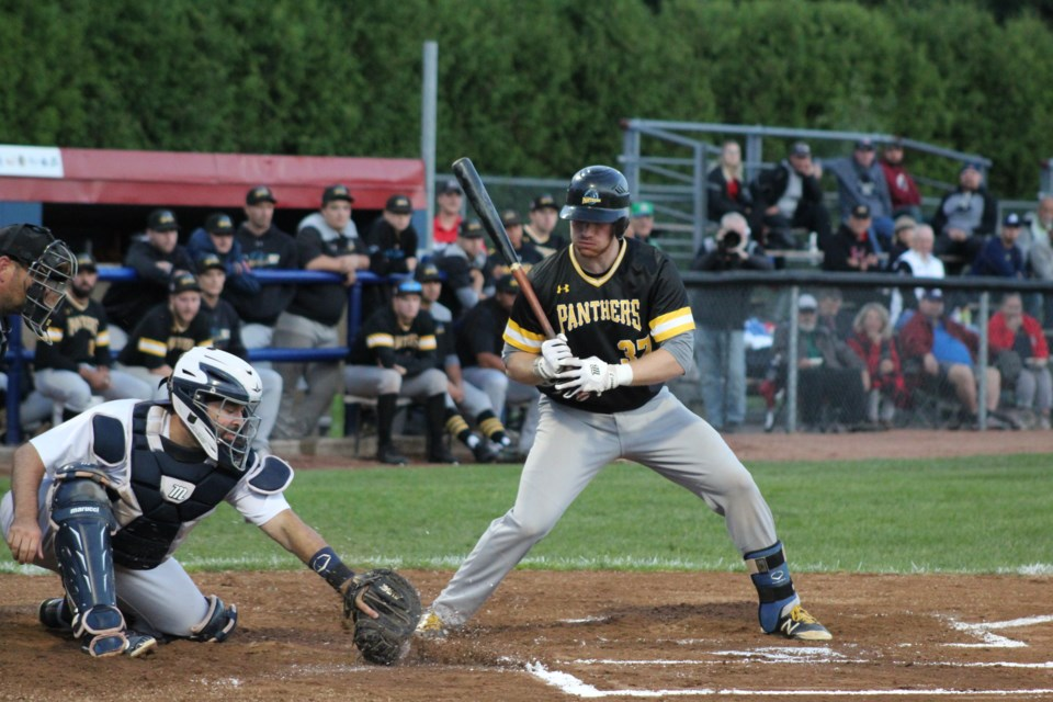 Barrie Baycats catcher Kyle DeGrace picks a pitch out of the dirt during Game 5 of the Intercounty Baseball League championship series on Thursday, Sept. 5, 2019. Raymond Bowe/BarrieToday