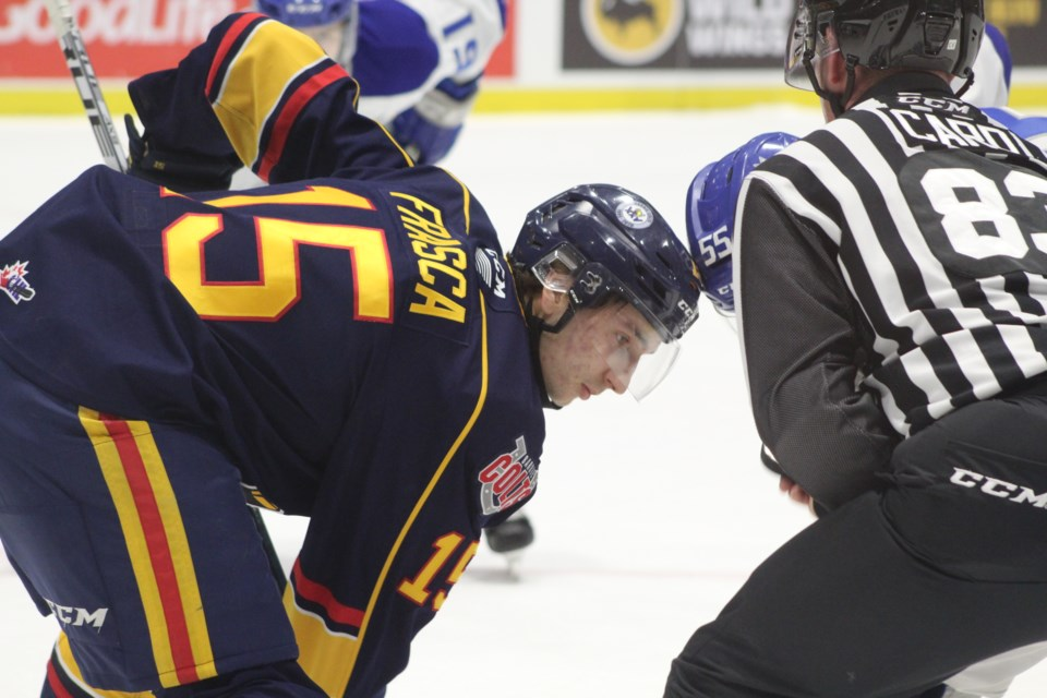 Barrie Colts forward Jacob Frasca  is shown in a file photo from January 2020. Raymond Bowe/BarrieToday