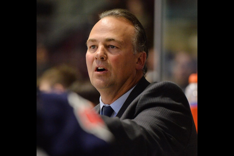 Barrie Colts head coach Dale Hawerchuk, shown in a photo from the 2018-19 OHL season, who is battling stomach cancer, has had successful surgery, according to his son, Eric. Terry Wilson/OHL Images