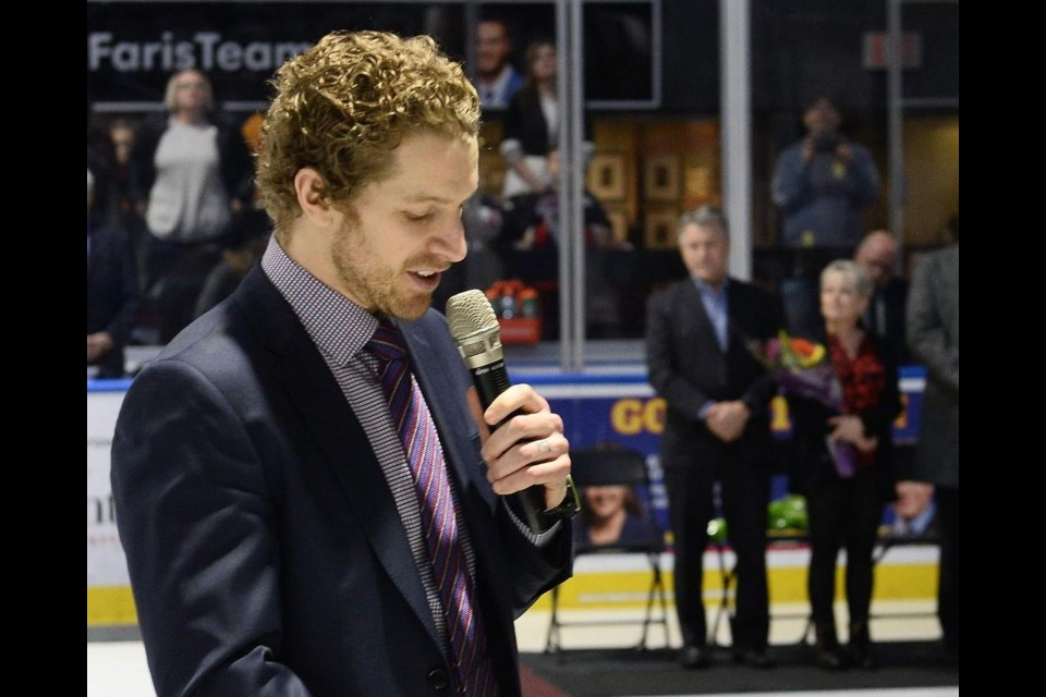 Former Barrie Colts captain Bryan Little speaks to the fans after having his jersey number retired on Saturday, Jan. 25, 2020. Terry Wilson/OHL Images.