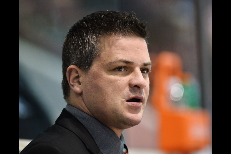 Former Barrie Colts star Sheldon Keefe is shown during his time as head coach of the OHL's Soo Greyhounds. Terry Wilson/OHL Images
