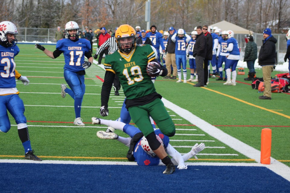 Gabe Gain, of the Barrie North Vikings, saunters into the end zone for a touchdown during the Simcoe County Athletic Association (SCAA) senior championship game against the Eastview Wildcats on Thursday, Nov. 7, 2019, at J.C. Massie Field. The Vikings won, 23-6, and will now move on to the GBSSA title game. Raymond Bowe/BarrieToday
