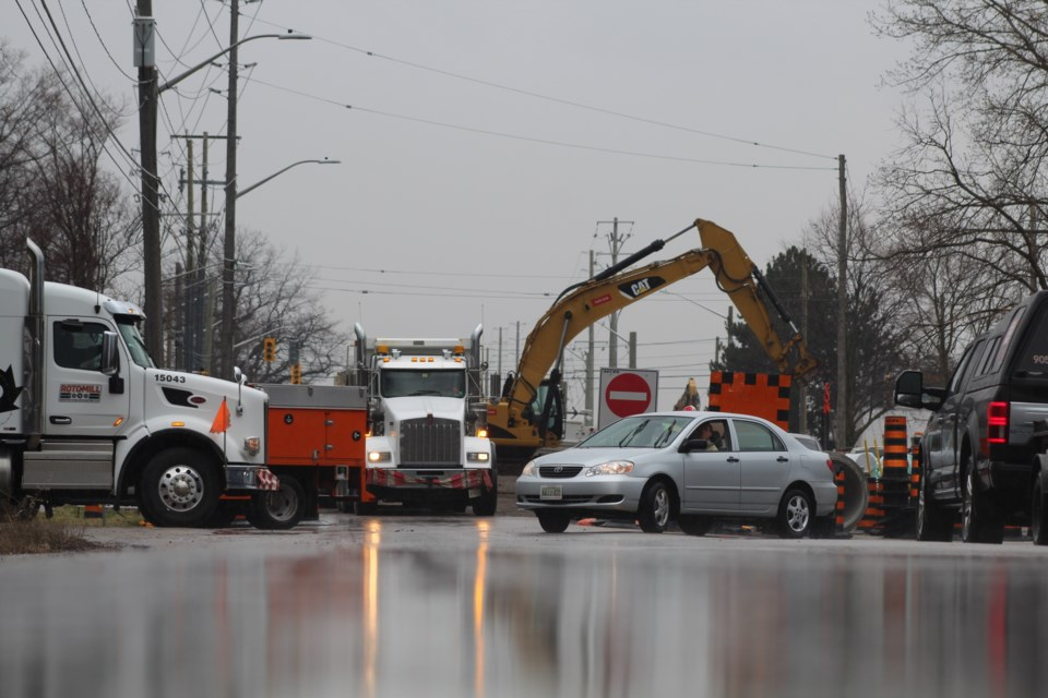 Construction crews have closed Bayview Drive, north of Big Bay Point Road in south-end Barrie, for ongoing work. Raymond Bowe/BarrieToday