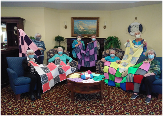 The knitting group from Waterford Barrie Retirement Residence enjoys giving back to the community and hanging out every Tuesday. Photo submitted