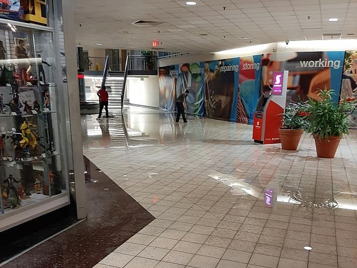 Flooding caused water to pool on the lower level of the Bayfield Mall after thunderstorms swept through the city on Sunday night. Contributed image