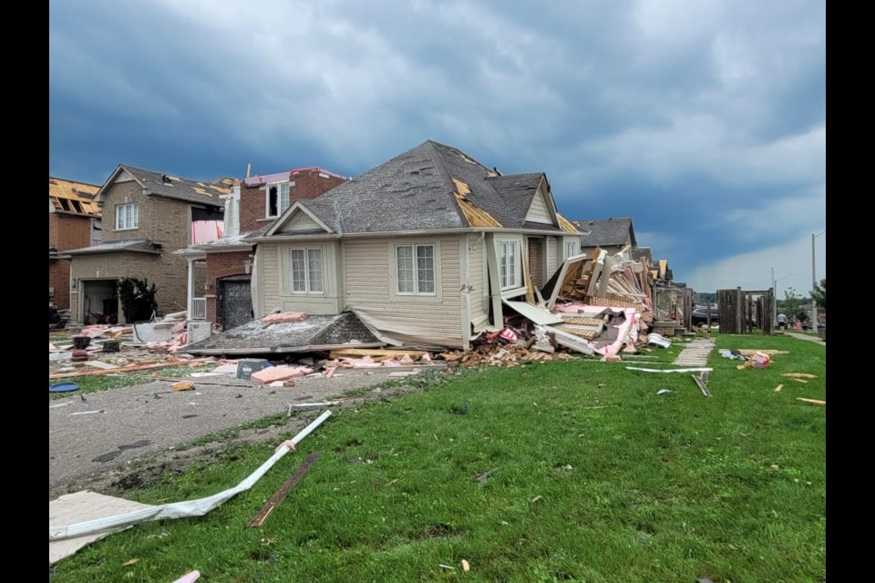Many houses sustained severe damage in south-end Barrie following Thursday's tornado.