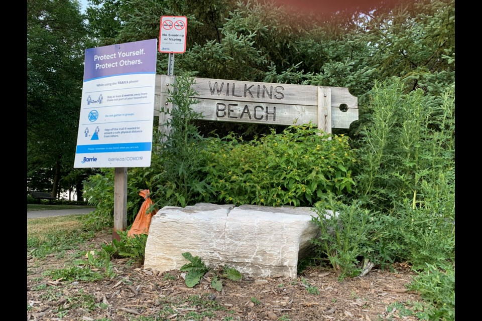 Wilkins Beach in the city's south end has been over-run recently. The city is putting in place measures to keep visitors away.  Raymond Bowe/BarrieToday