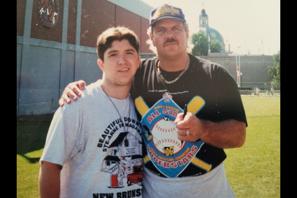 A teenage Shawn Gibson, with dream of being in the wrestling business, is shown with Doc Hendrix (Michael P.S. Hayes) at a WWF/WWE CNE event in the mid-1990s.