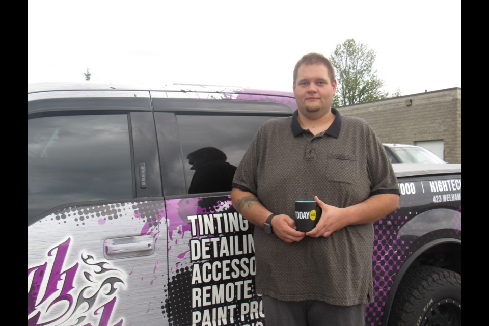 Brad Middel outside of his business, High Tech Tint Plus, which is located on Welham Road. Shawn Gibson for BarrieToday