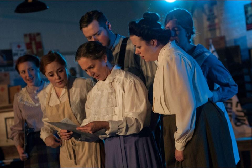 Left to right: Heather Dennis, Marissa Caldwell, Richard Varty, Candy Pryce, Sarah Bransfield, Joanna Keats Photo by Adrienne Callan
