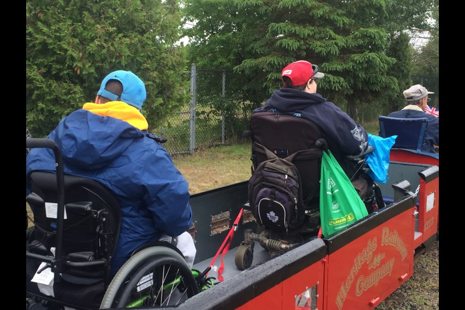 Wheelchair accessible train coach can accommodate two wheelchairs at a time.
