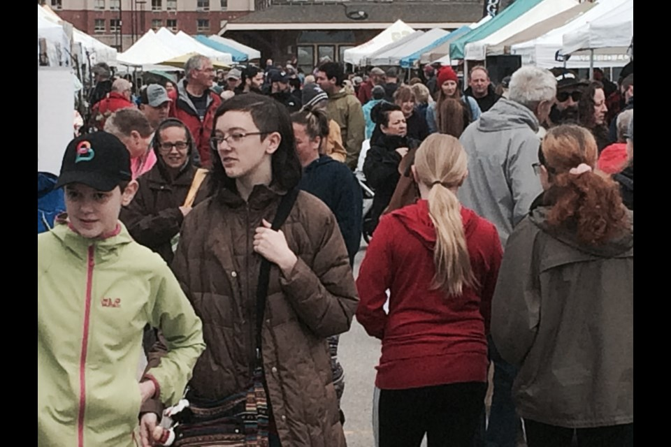 Hundreds attend the opening day of the North Bay Farmers' Market for the season.