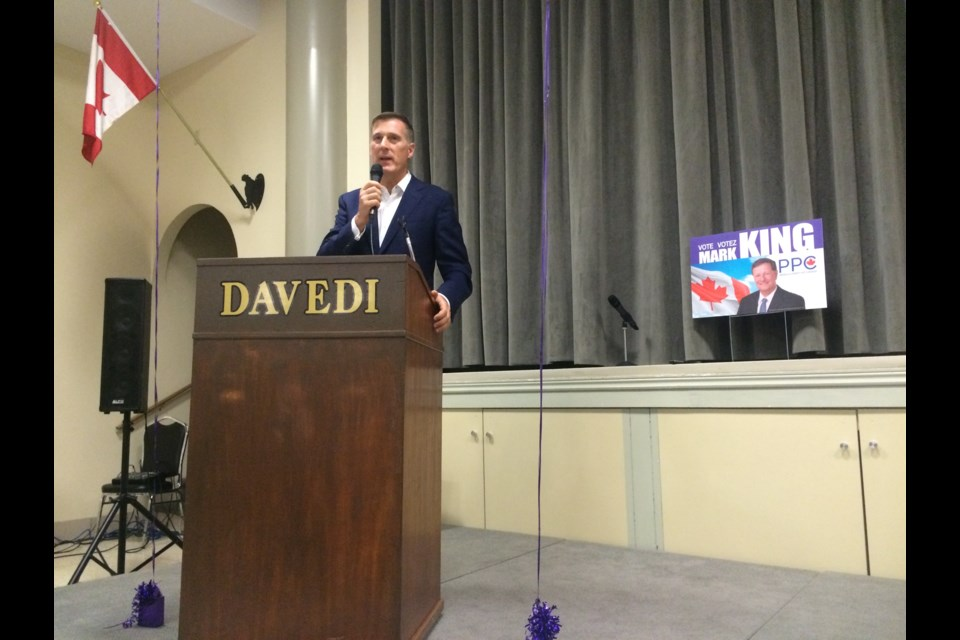 People's Party of Canada founder and leader Maxime Bernier outlined policies at rally in North Bay.