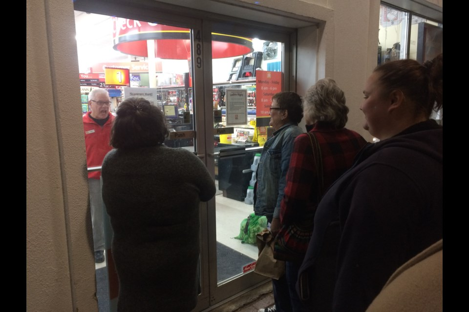 Waiting in line for the Powassan Home Hardware Ladies Night