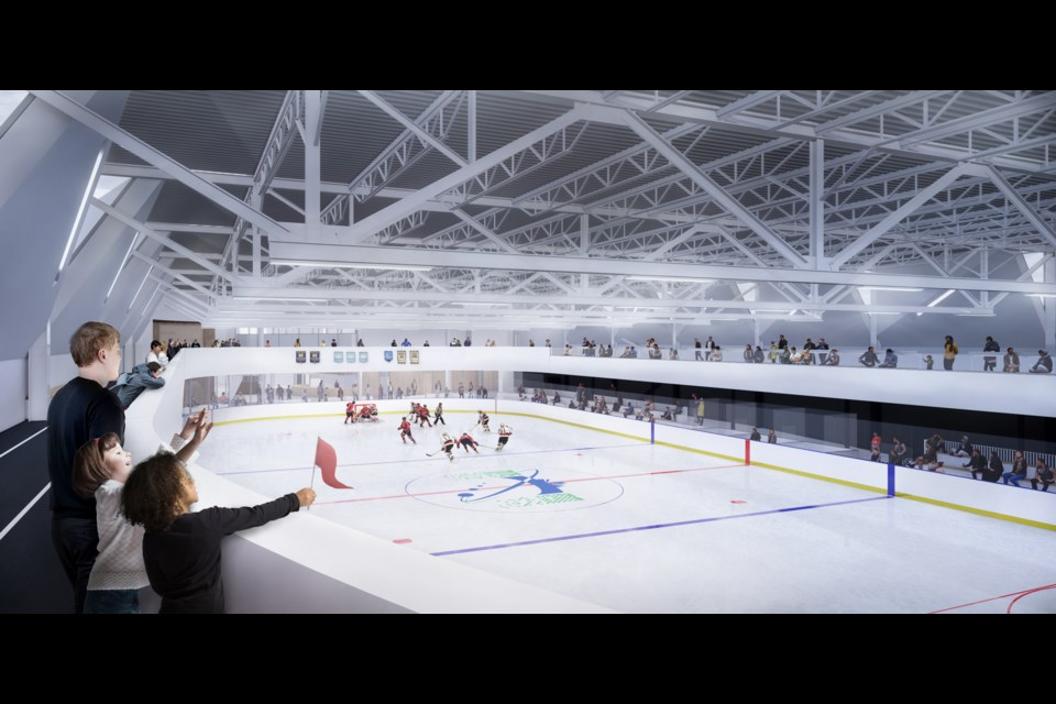 Walking track and rink view at proposed North Bay Community and Recreation Centre Courtesy MJMA and Mitchell Jensen Architects