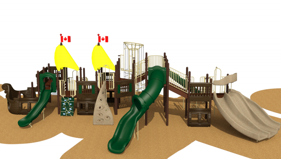 Playground Planners Inc. have provided Callander with digital renderings of the new playground, which will be installed in the spring of 2022. Note the Colosus slide at the far right / Digital design by Playground Planners Inc., supplied by Town of Callander