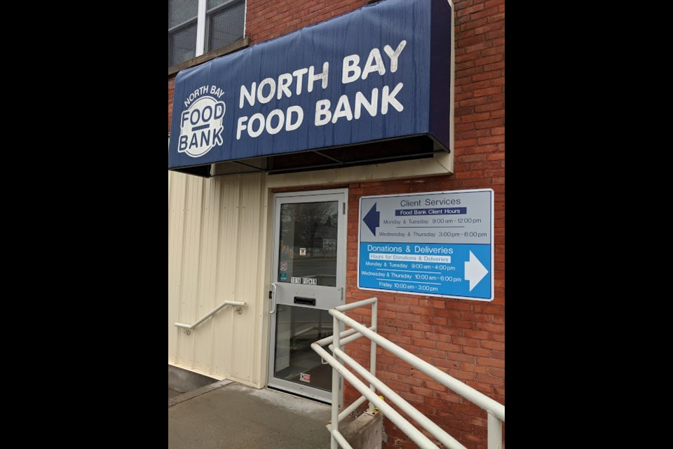 The North Bay Food Bank Fisher street entrance lists hours open to the public.