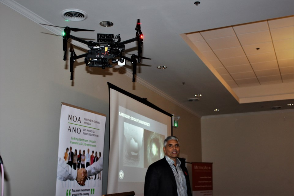 SafeSight gave drone flight demonstrations during their PITCH. Photo by Ryen Veldhuis.