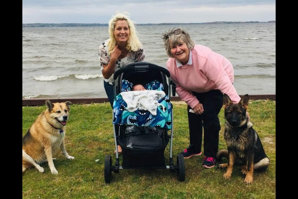 Team Hughes was powered by 12 legs, four wheels and one baby as they raised funds for the Our Hospital Walk/Run. Photo submitted.