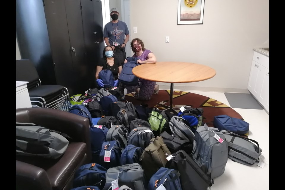 Backpacks of Love were delivered to the Indigenous Friendship Centre.