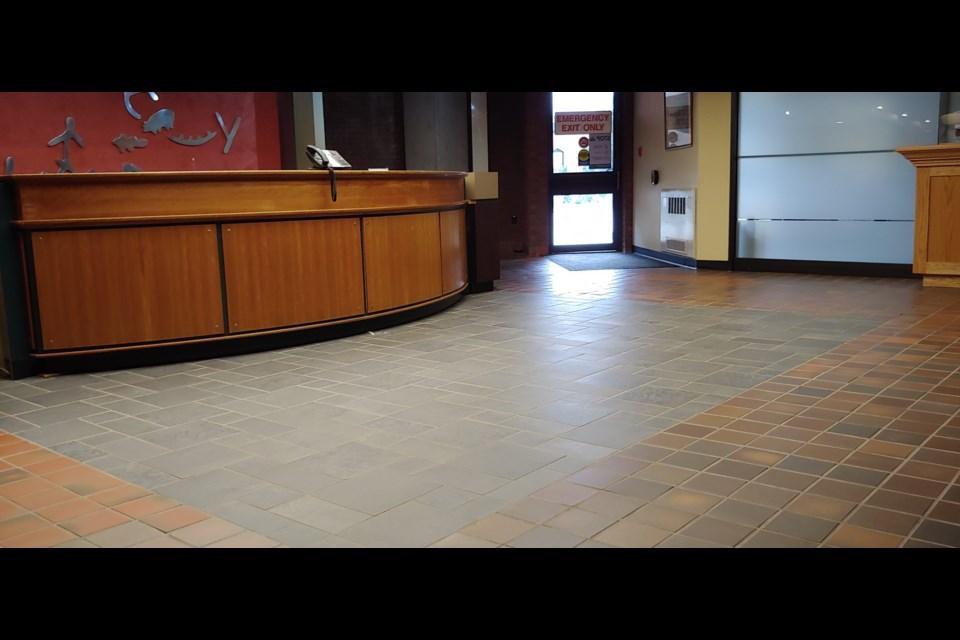 The mismatched tiles at City Hall. Photo: Stu Campaigne