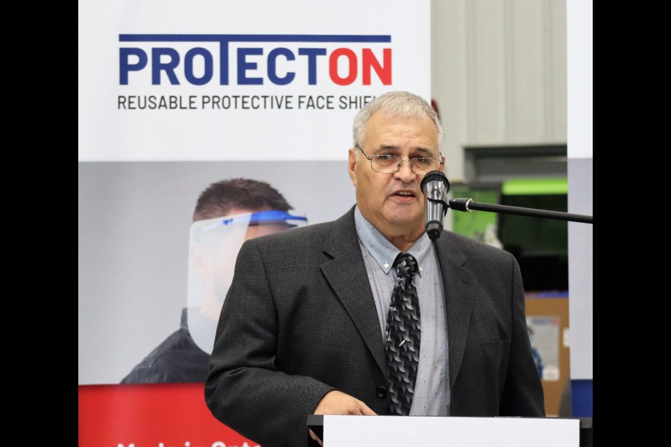Donald Champagne, president of North Bay Plastic Molders during the media conference for the ProtectON PPE face shield, Sept. 25.(BayToday photo)