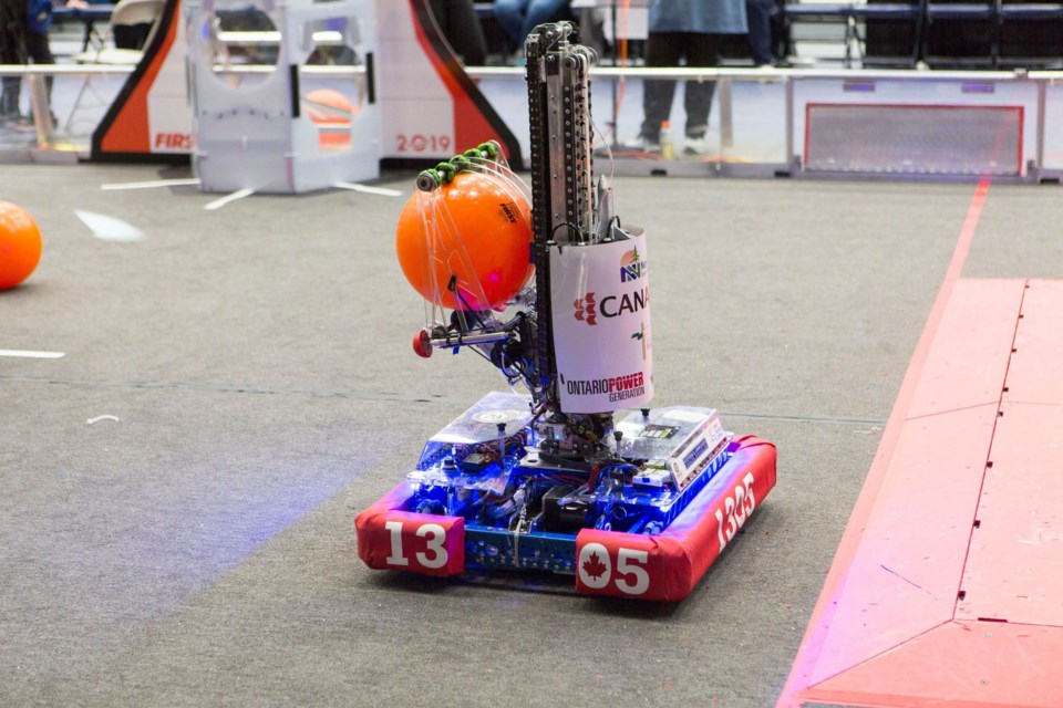 Team 1305's robot from 2019 Kepler. Photo provided by Nancy Dewar-Stenning.