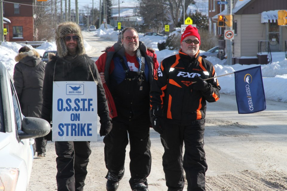 OECTA and OSSTF members picket outside St. Joseph-Scollard Hall during Tuesday's job action. Photo by Chris Dawson/BayToday