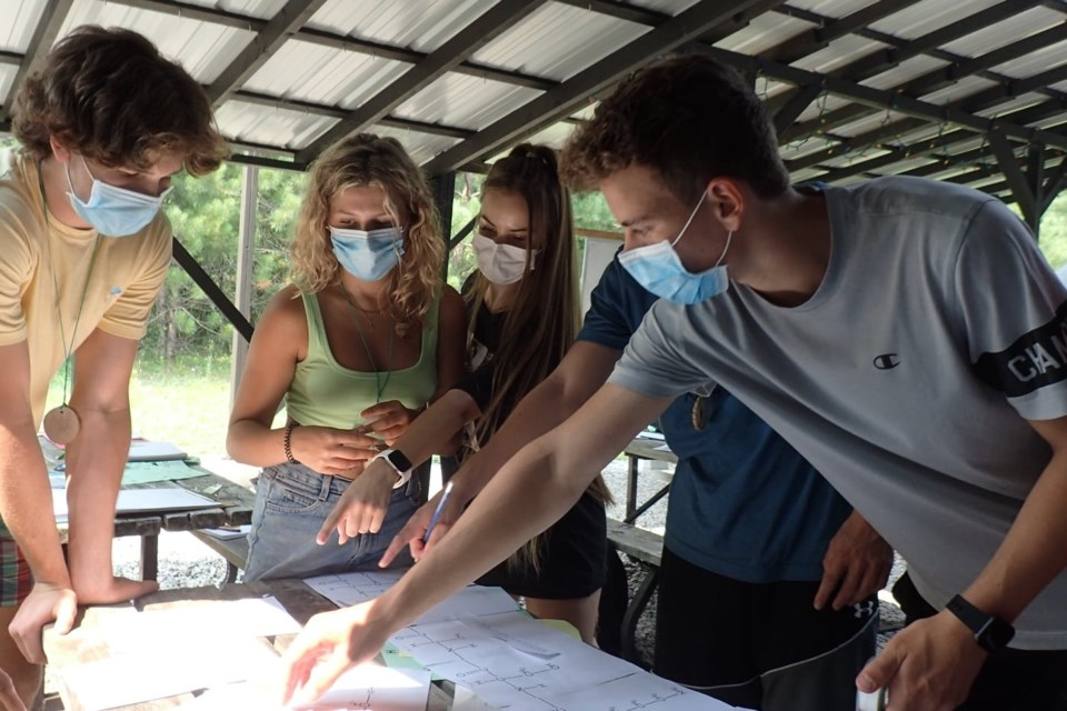 Students in Grade 12 biology work in groups in the Canadian Ecology Centre's spacious outdoor classrooms.