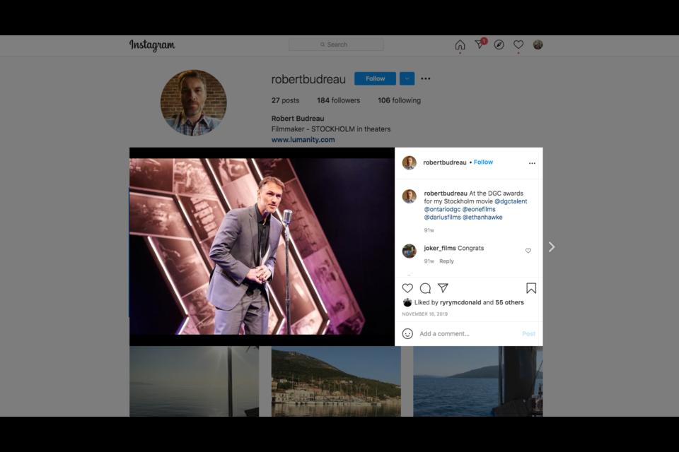 Screen grab of Rob Budreau Instagram account.