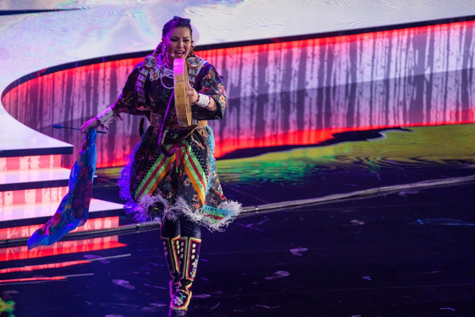 Tasheena Sarazin performing at the Indspire Awards on March 24th at the National Arts Centre in Ottawa.  Photo by Lindsay Sarazin.