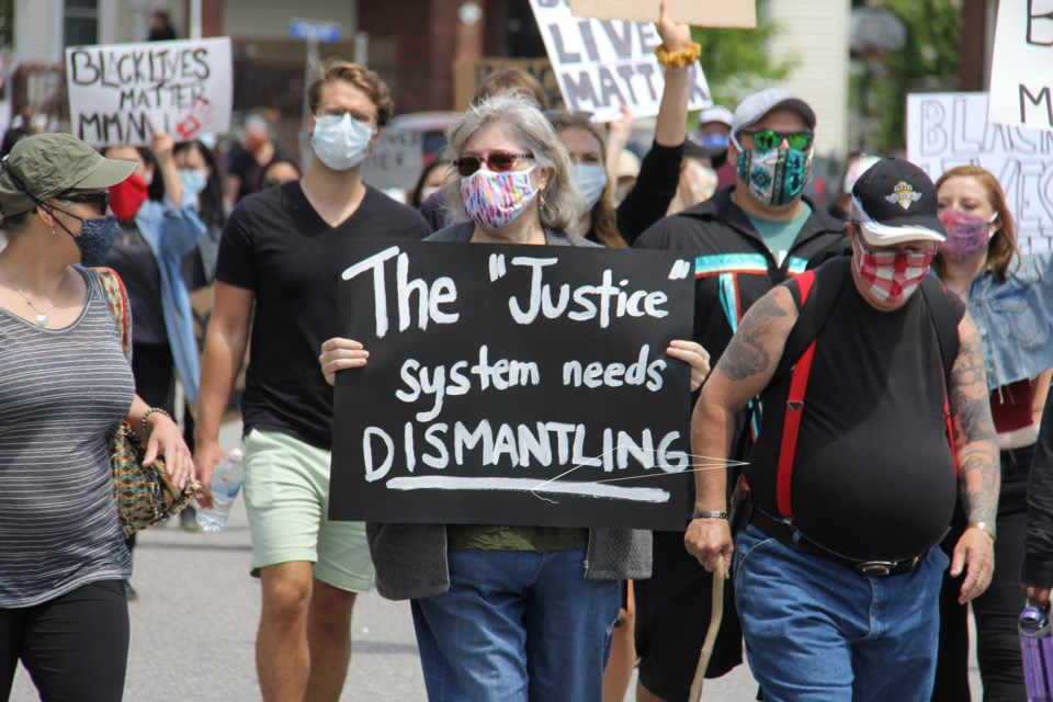 A crowd of around 2,500 people took part in the Black Lives Matter protest march in North Bay. Jeff Turl/BayToday.