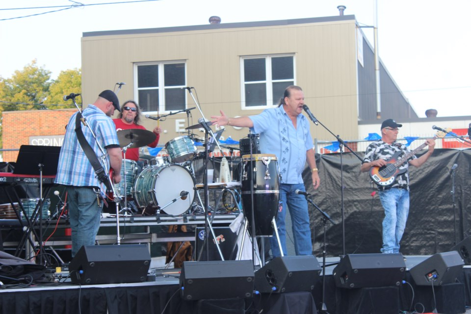 The stage was set for eight blues bands Saturday night. Photo by Ryen Veldhuis.