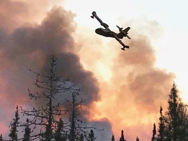 20190608 gogama forest fire water bomber