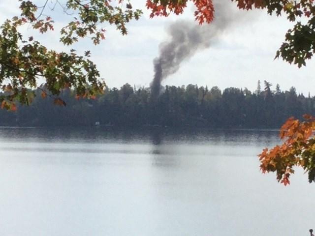 Hemlock Island cottage fire on Trout Lake. Photo courtesy Roy Storey.