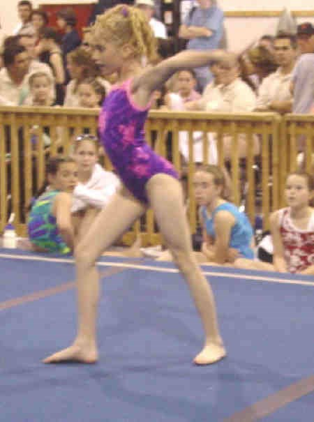 Lindsay Jones, North Bay Gymtrix, Tyro A, performs in the floor competition.