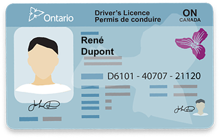 2020 10 07New Licence French_Language_Characters_Drivers_Licence