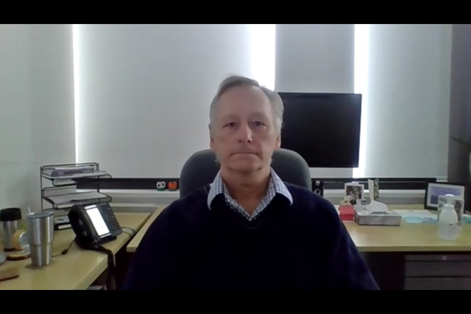 After recommending extending shutdown measures, Dr. Jim Chirico speaks via live stream.