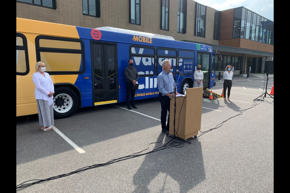 Dr. Jim Chirico speaks to the media at the live media event outside the North Bay Parry Sound District Health Unit.  Photo by Chris Dawson/BayToday.