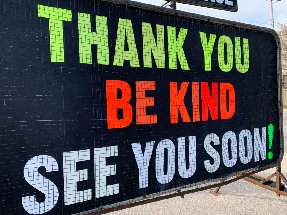 covid thank you be kind sign turl